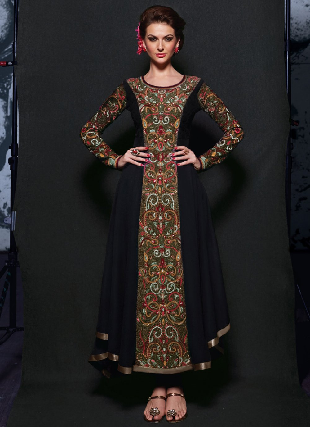 Galvanizing Black Embroidery Anarkali Suit