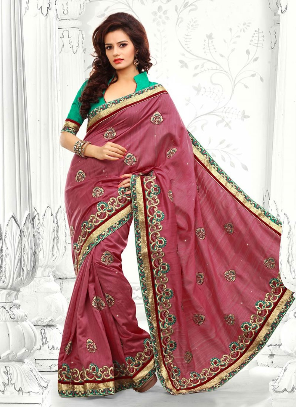 Galvanizing Carrot Pink Bhagalpuri Silk Saree