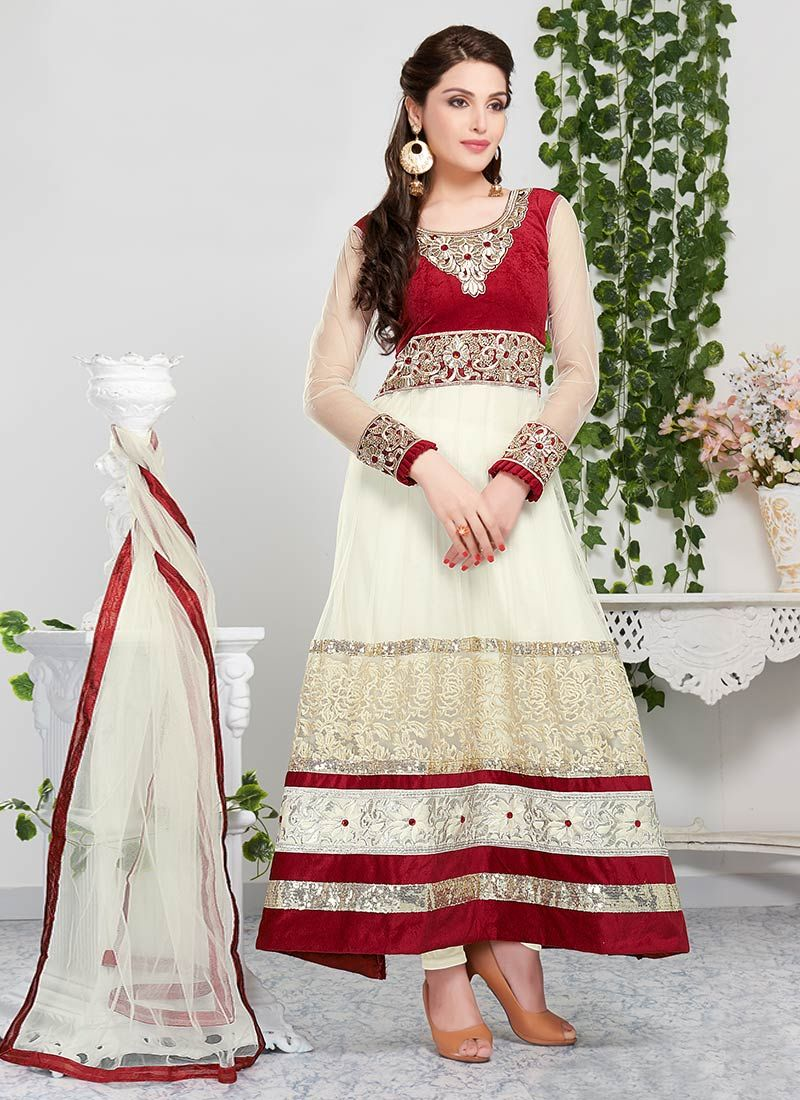 Anarkali dress in white and red