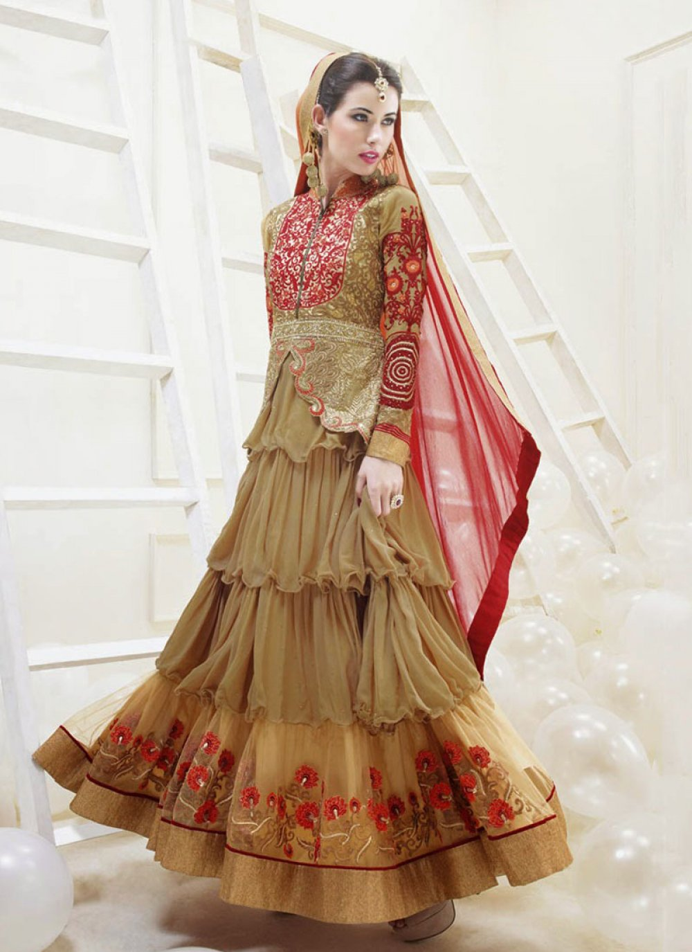 Gambling Brown And Cream Resham Work Net Anarkali Salwar Suit