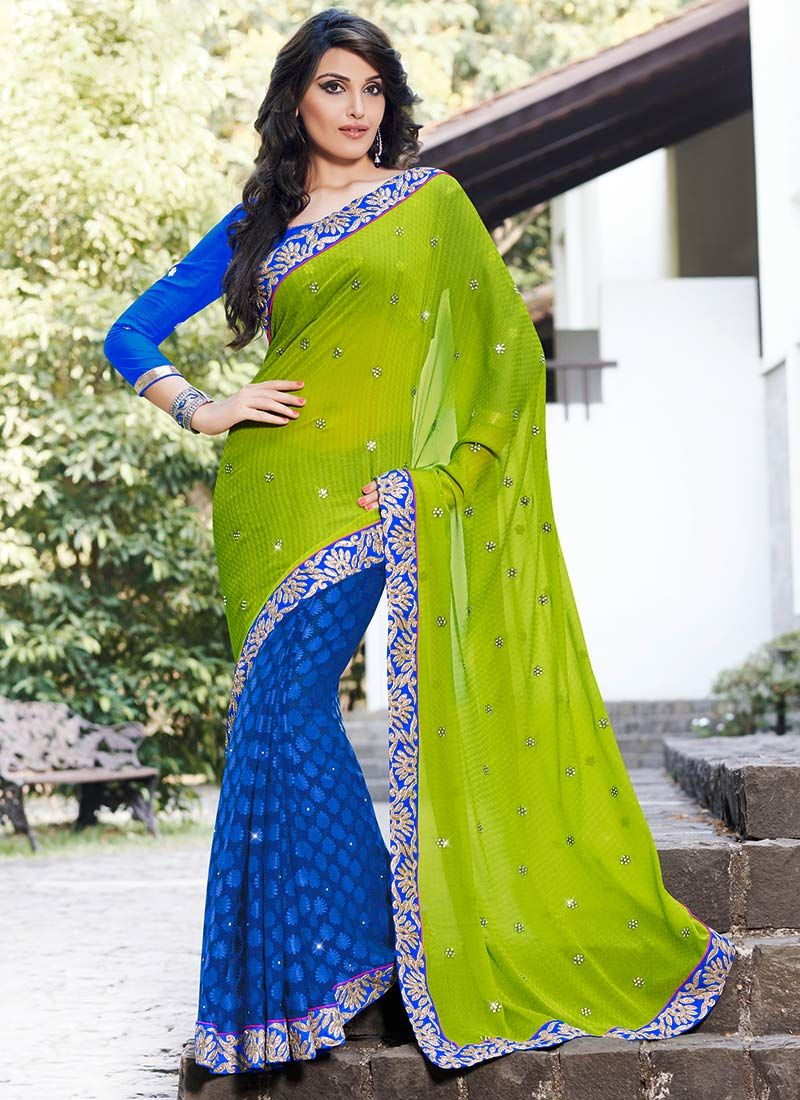 Gambling Green Brasso Patch Border Work Saree
