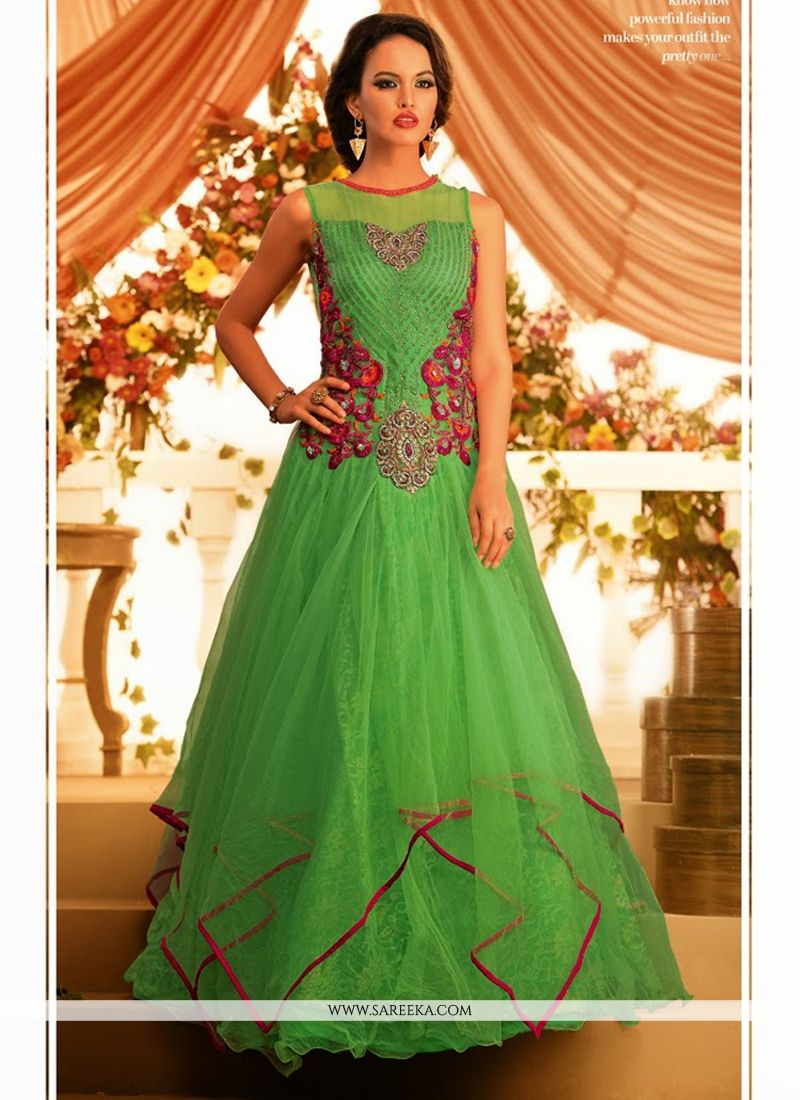 Gambling Green Net Designer Gown