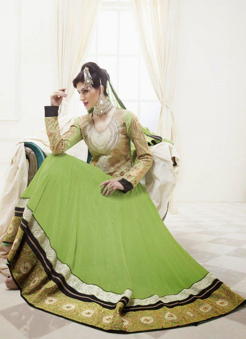 Gambling Green Patch Border Work Anarkali Salwar Suit