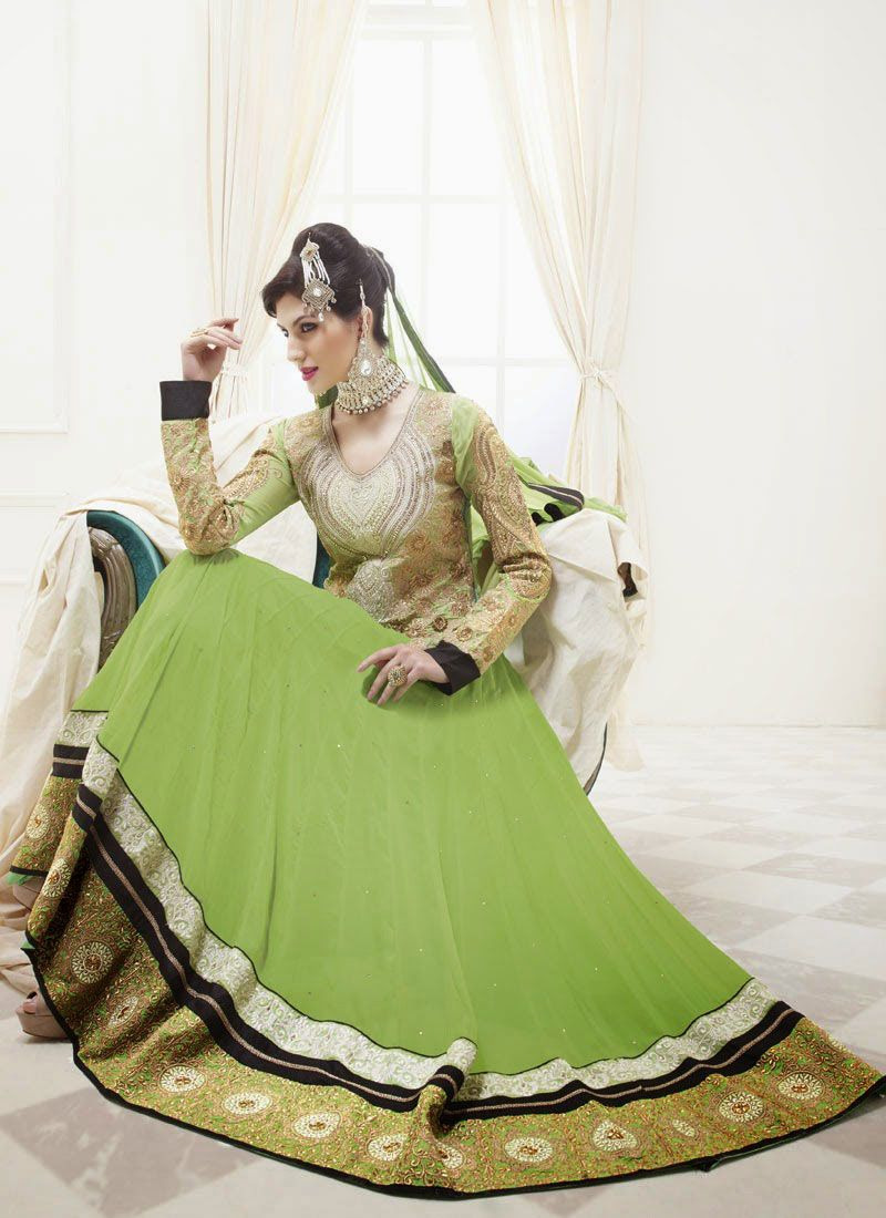 Gambling Green Patch Border Work Anarkali Salwar Suit
