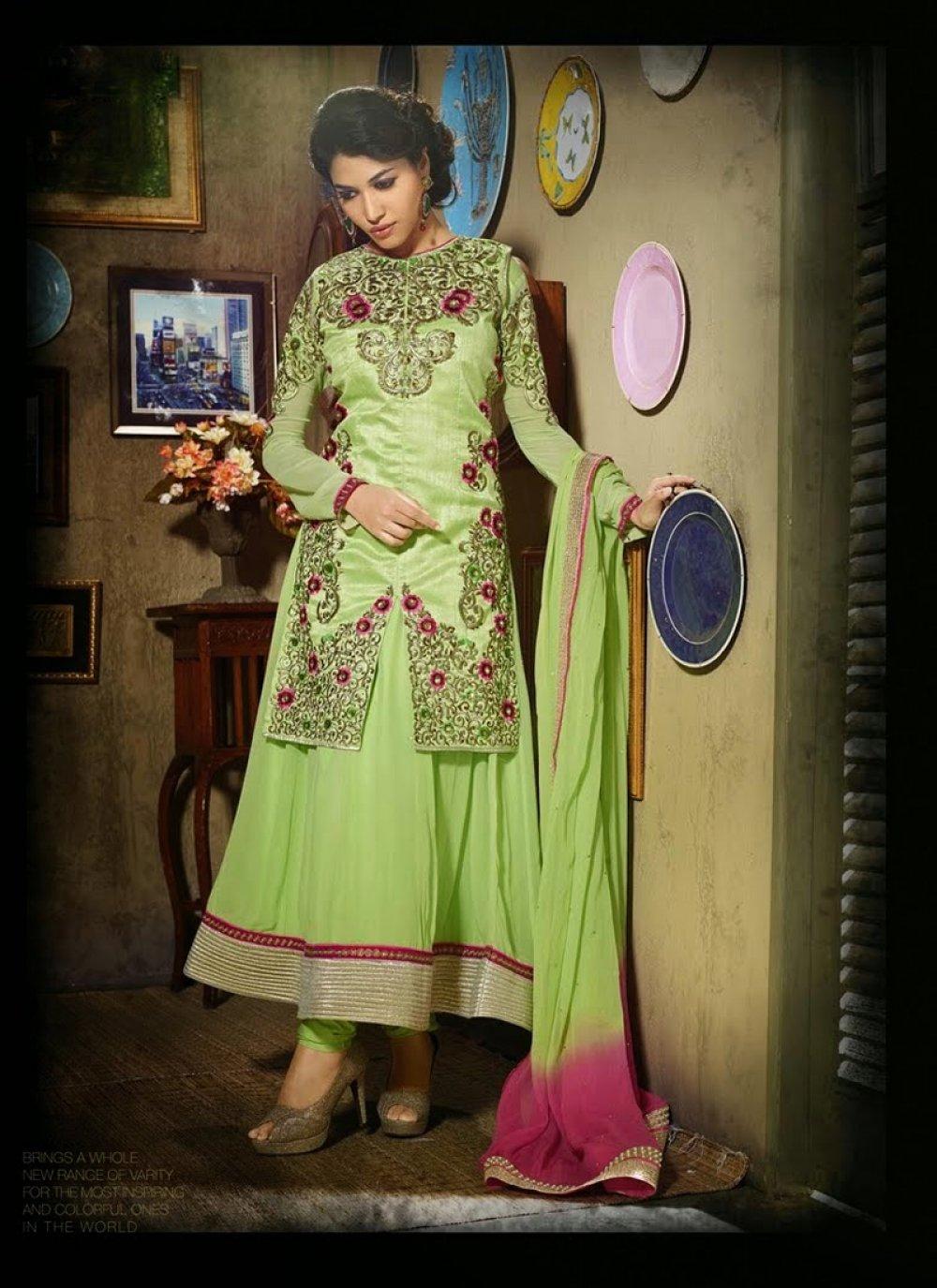Gambling Green Resham Work Anarkali Suit