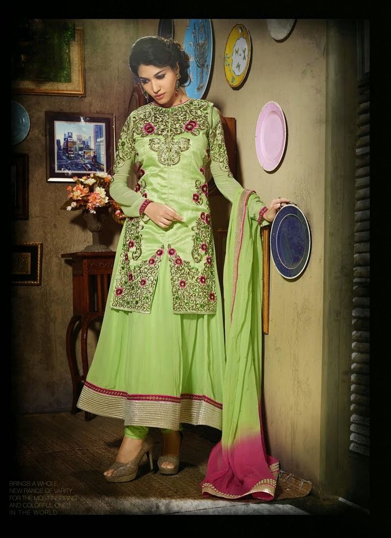 Gambling Green Resham Work Anarkali Suit