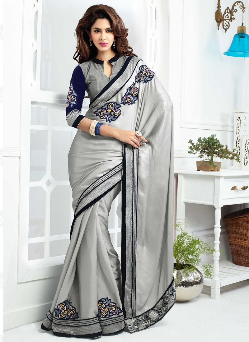 323ff3b3bf54e Gambling Grey Embroidery Satin Silk Saree -