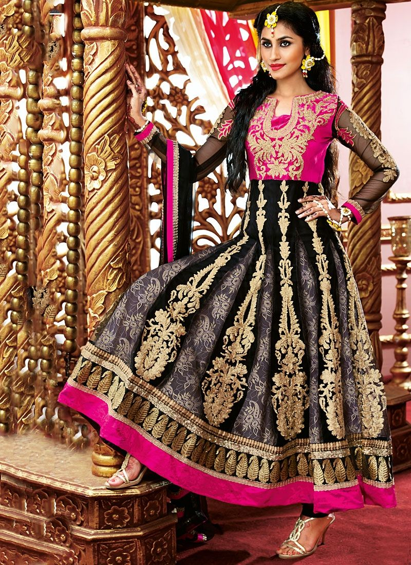 Gambling Grey Embroidery Work Georgette Anarkali Suit