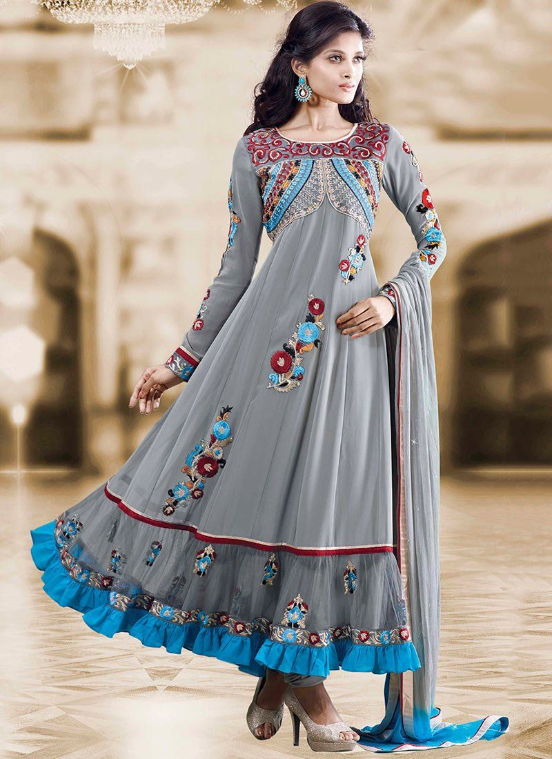 Gambling Grey Resham Border Work Georgette Anarkali Suit
