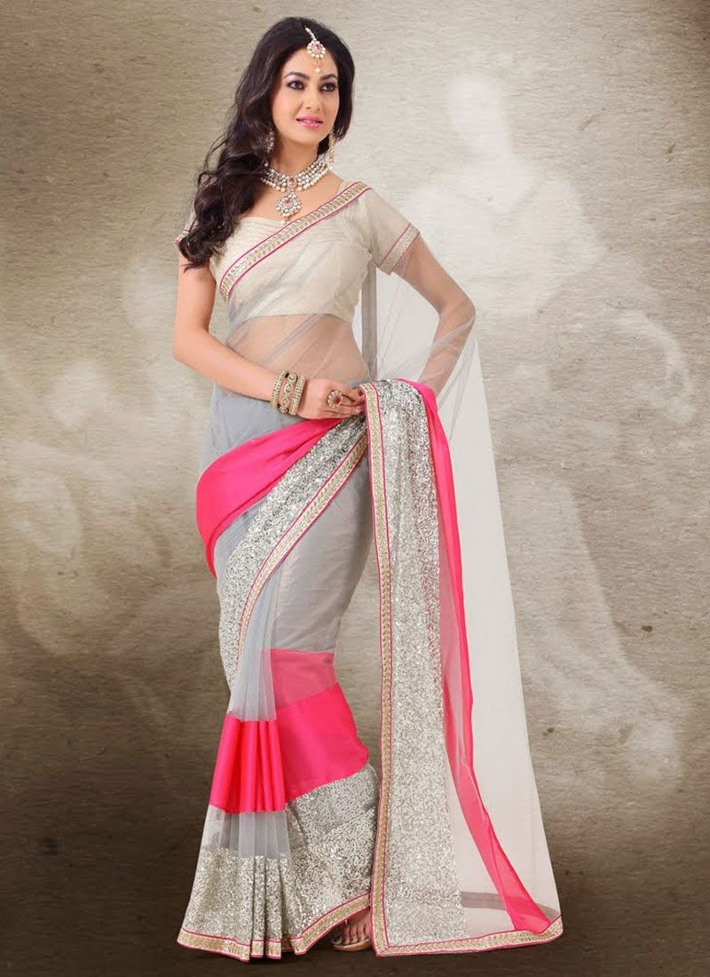 Gambling Grey Shaded Patch Work Net Saree