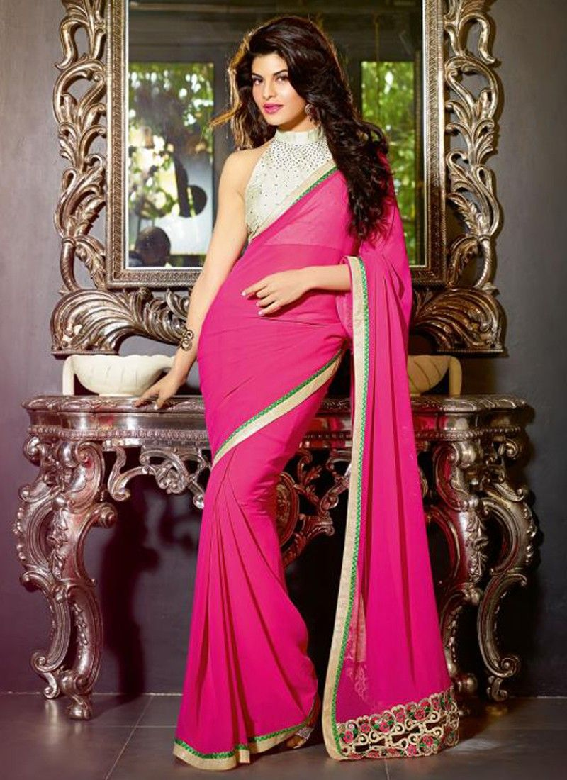 Gambling Magenta Patch Border Work Party Wear Saree