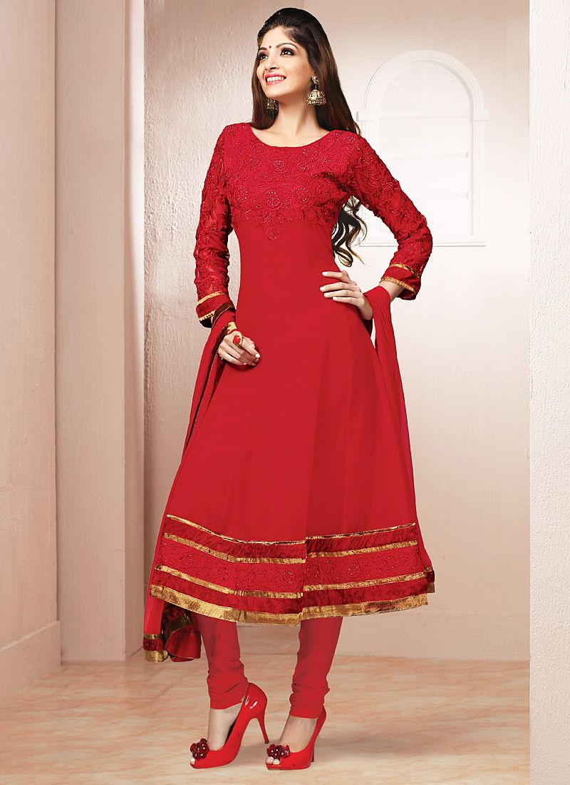 Gambling Maroon Patch Border Work Anarkali Suit