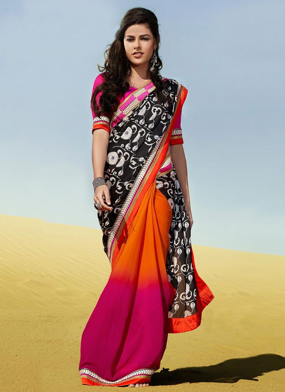 Gambling Orange And Pink Shaded Faux Georgette Saree