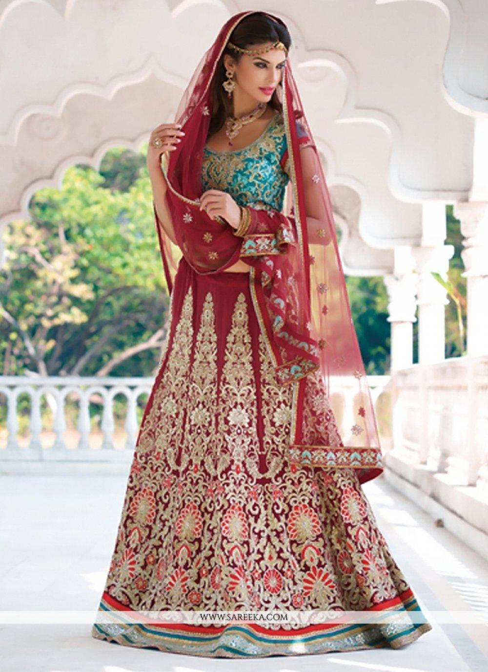 Gambling Red Embroidery Work Wedding Lehenga Choli