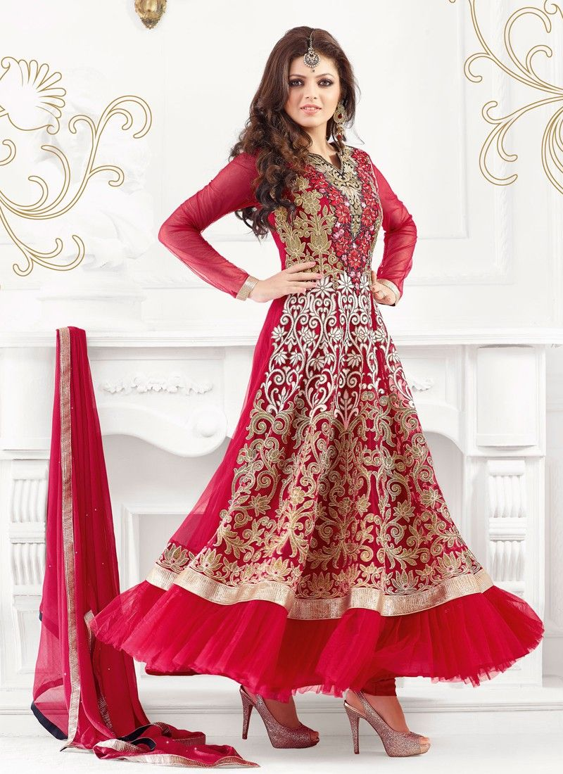 Garceful Red Resham Work Net Anarkali Salwar Suit