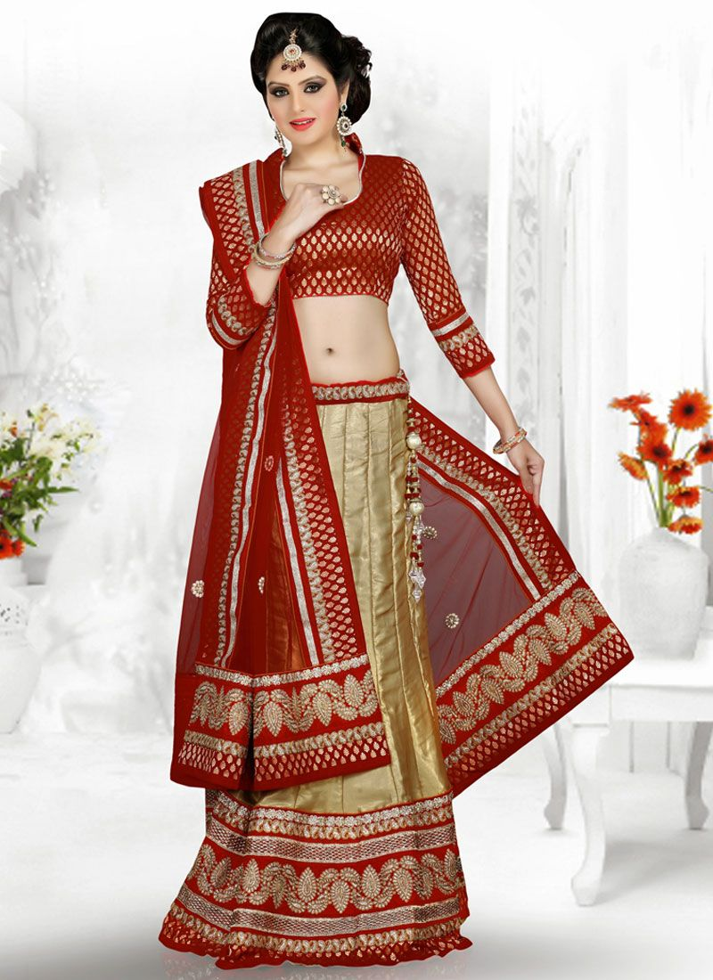 Beige And Maroon Embroidery Work Lehenga Choli