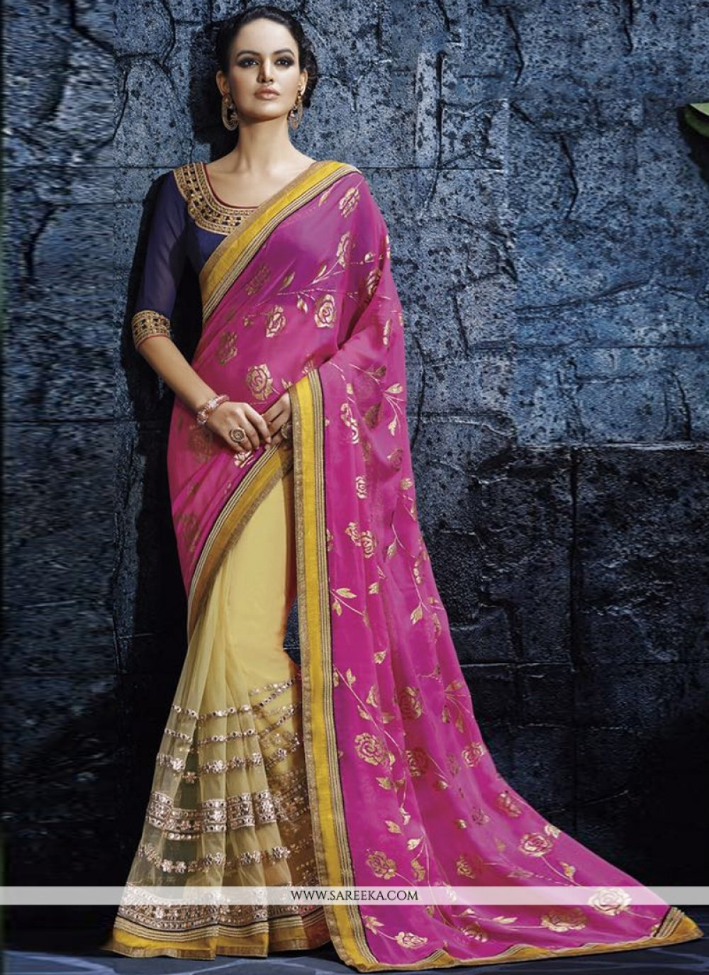 Hot Pink Georgette Designer Saree