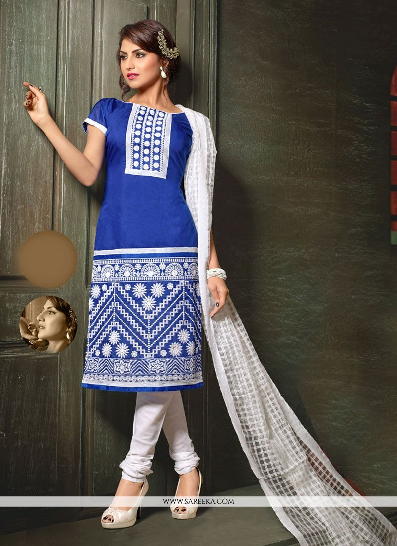 Lace Work Blue Chanderi Churidar Designer Suit