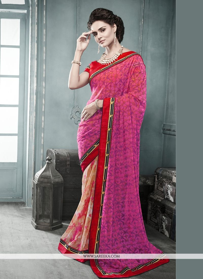 Pink And Cream Georgette Casual Saree