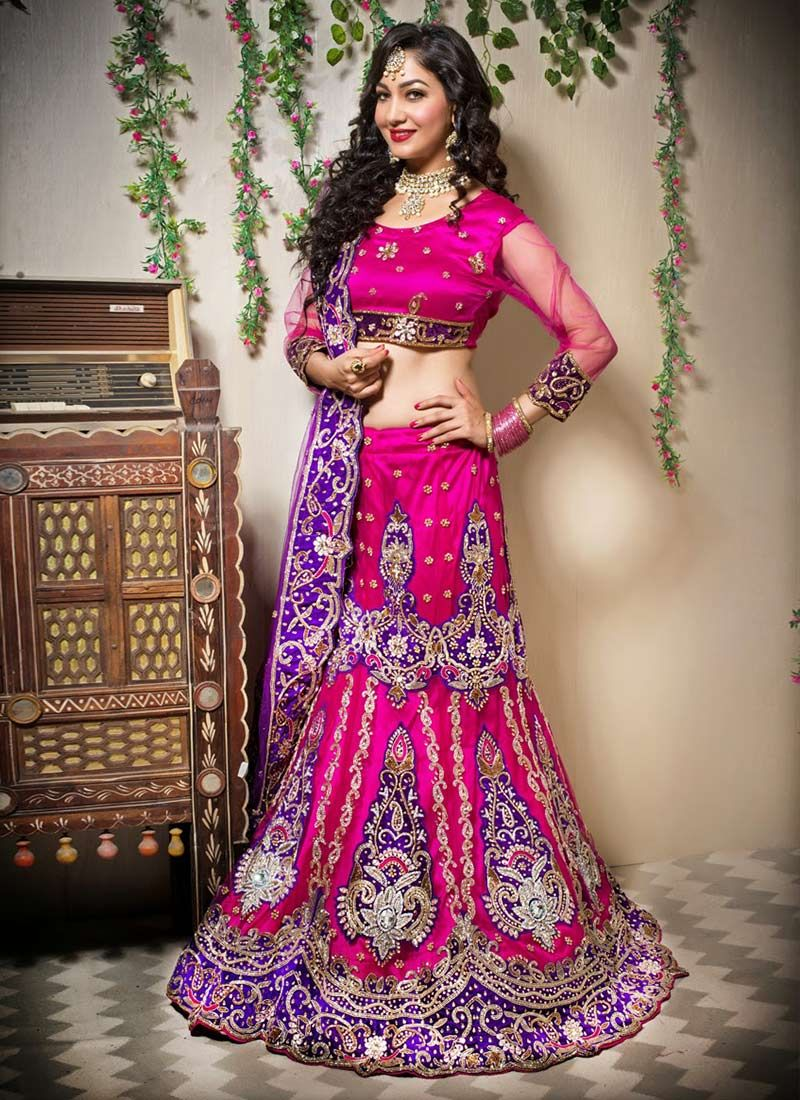 4d11d436d5a658 Pink Shade Net Fish Cut Lehenga Choli -