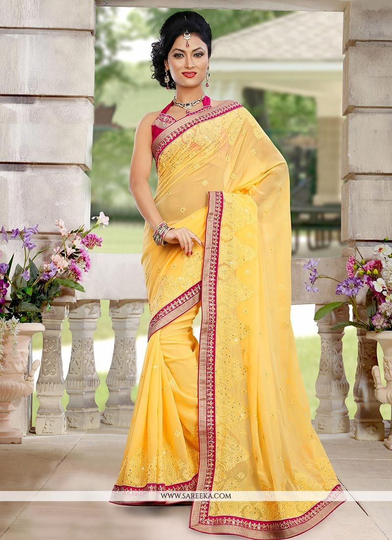 Yellow Shaded Georgette Saree