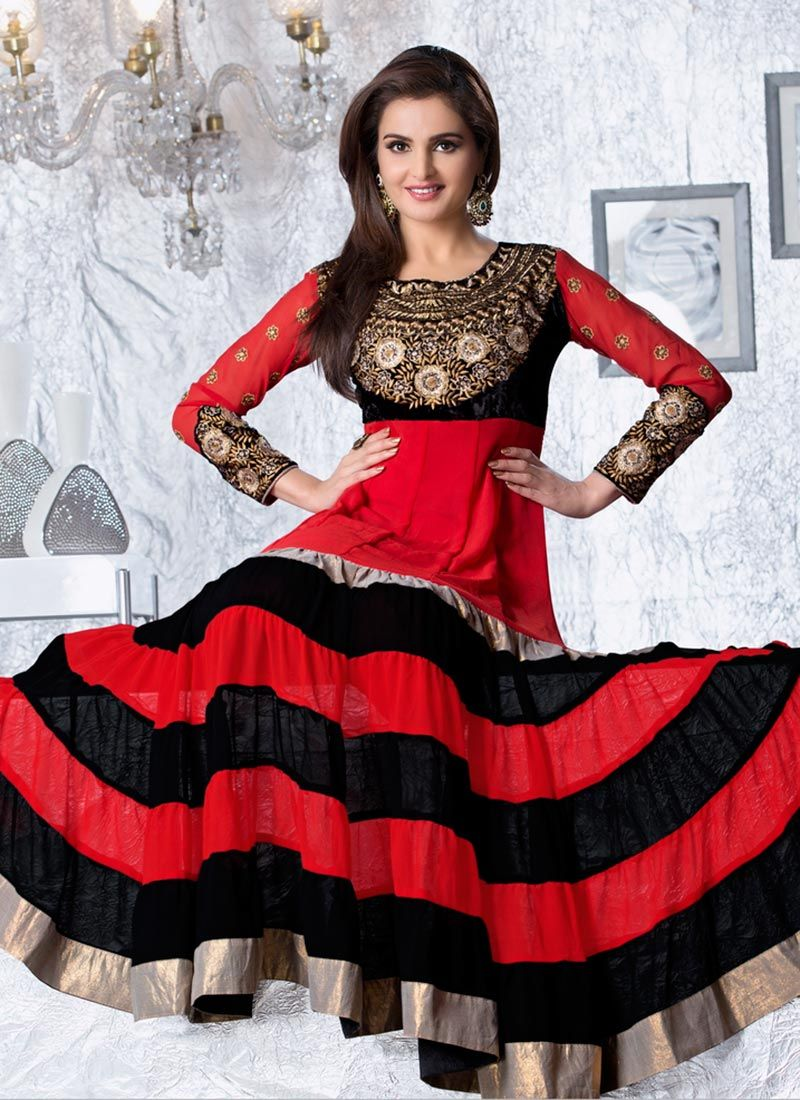 Georgette Red And Black Ankle Length Anarkali Suit