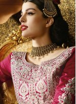 Banarasi Silk Pink A Line Lehenga Choli