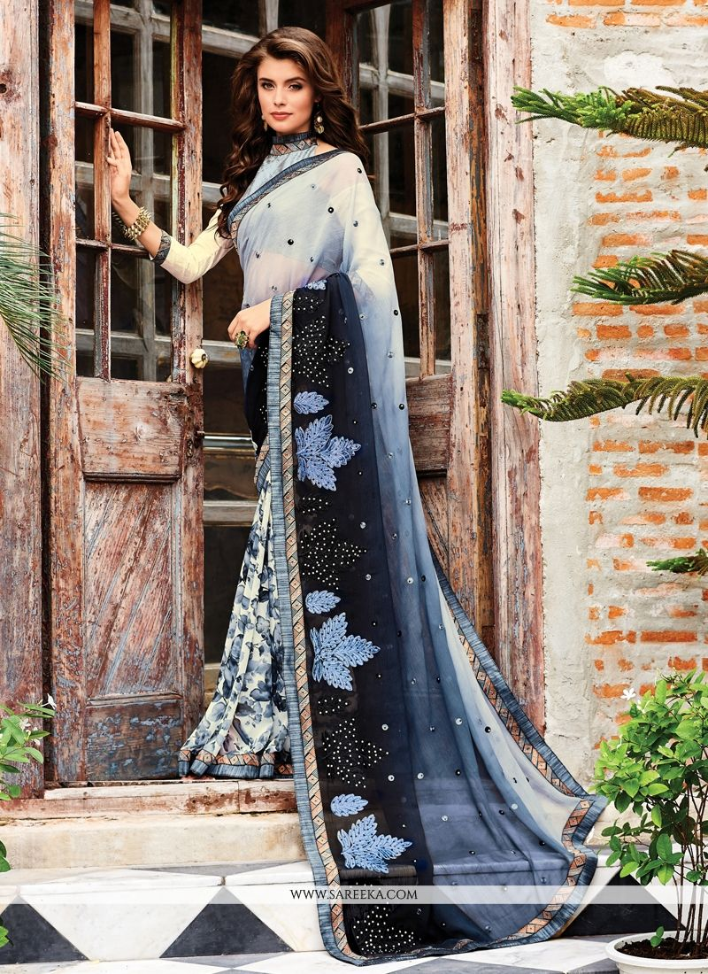 Black and Grey Designer Saree