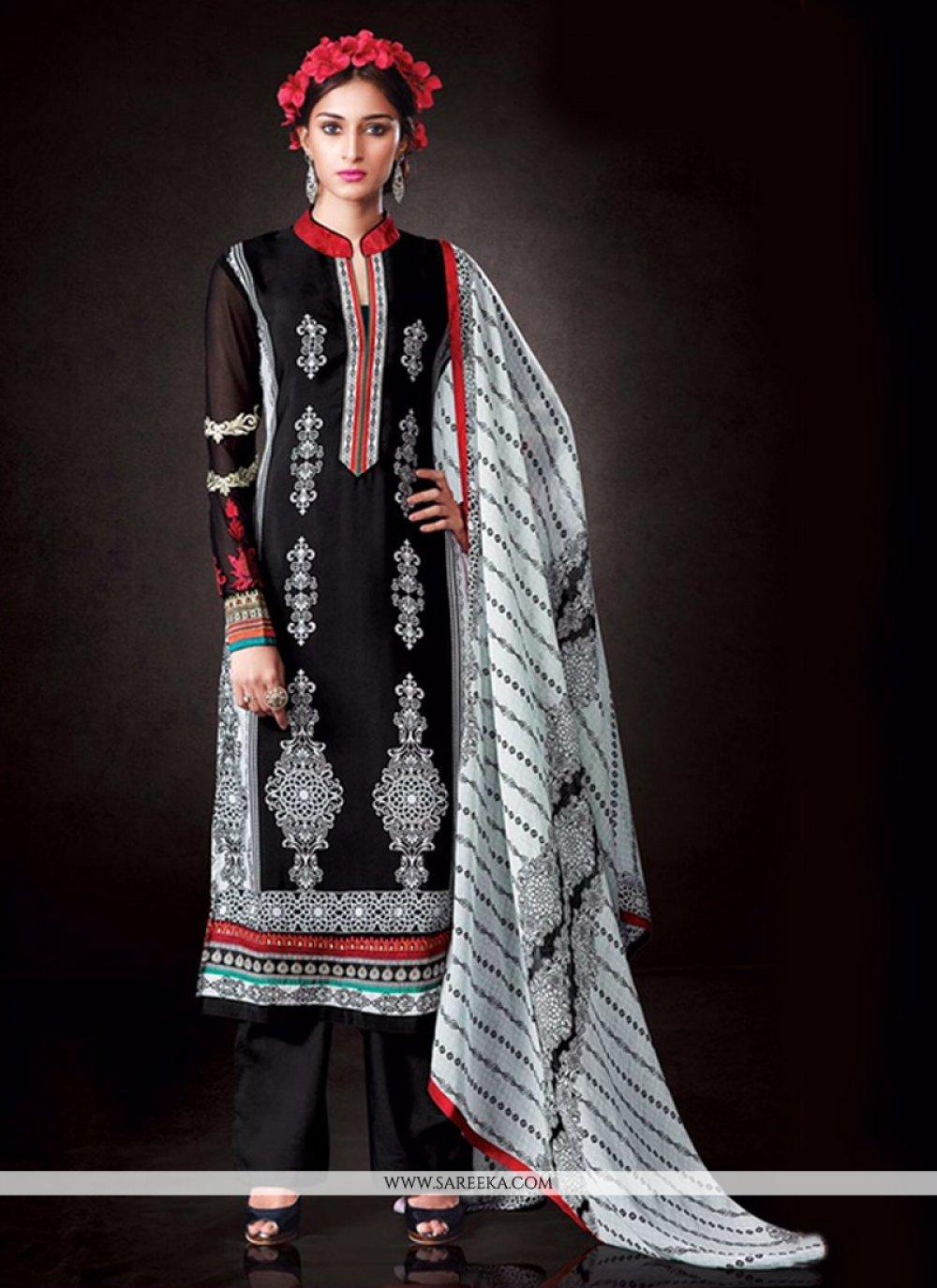 Black Print Work Designer Pakistani Suit