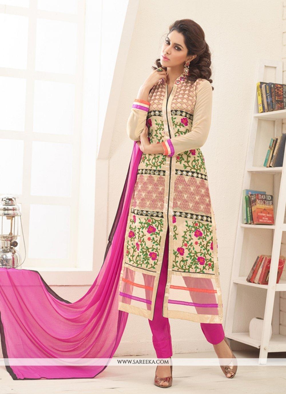 Cream Designer Straight Salwar Suit