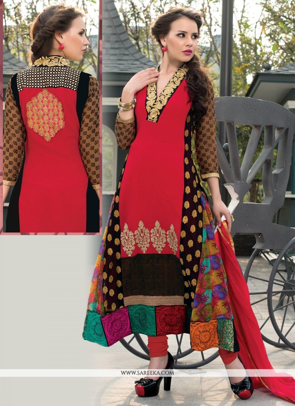 Georgette Red Churidar Salwar Suit