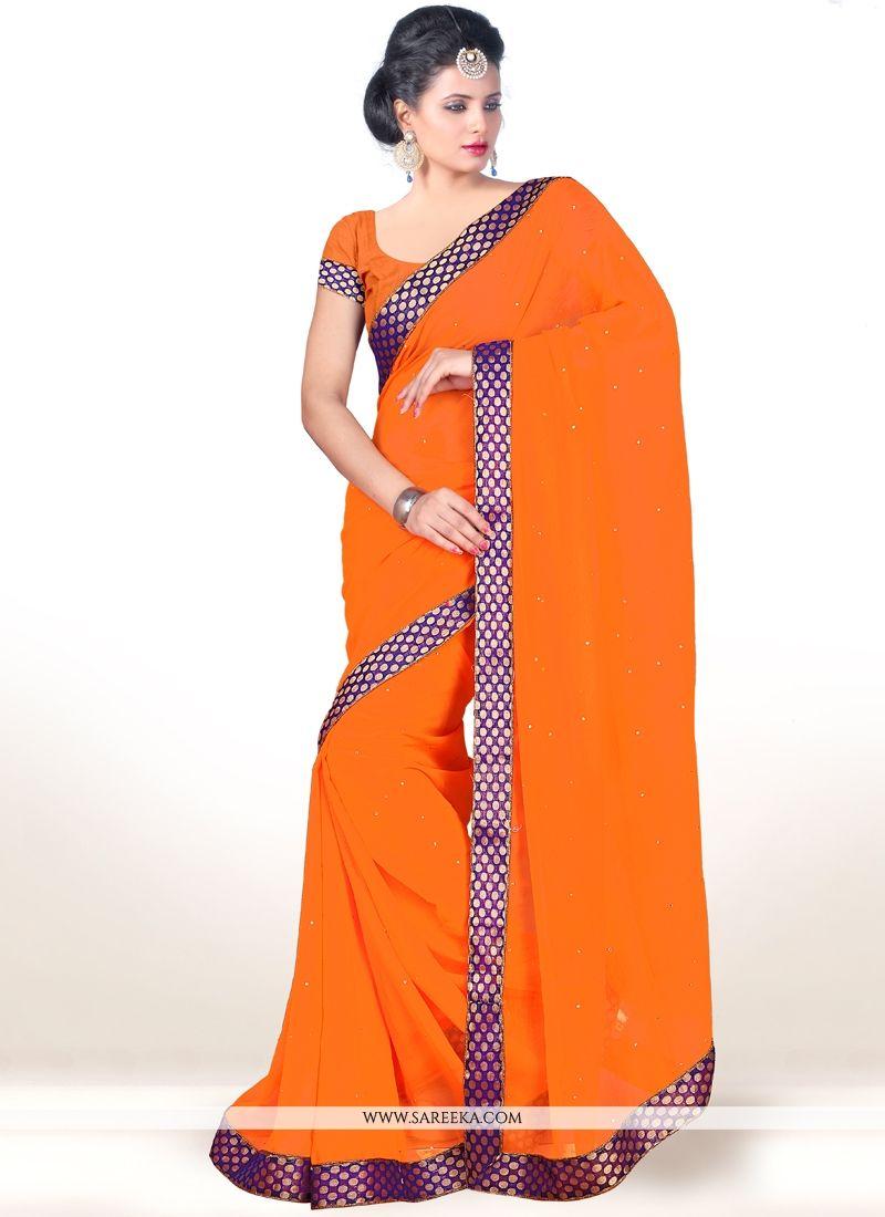 Lace Work Orange Casual Saree