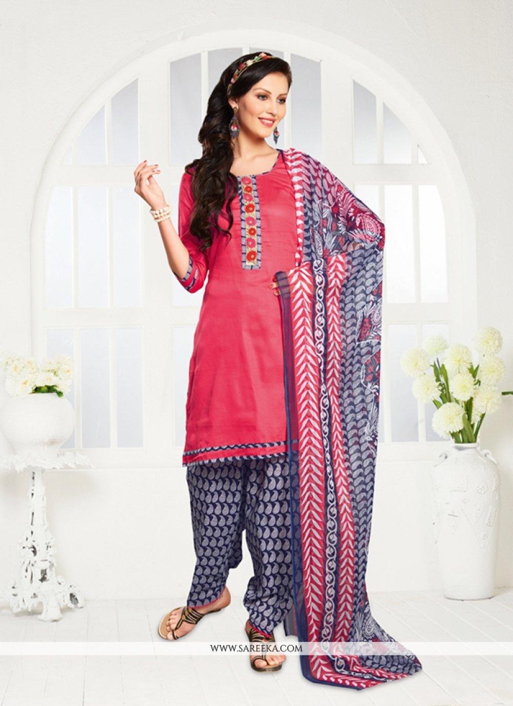 Pink Print Work Cotton Satin Designer Patiala Salwar Kameez