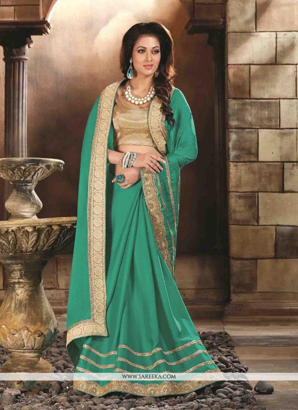 Sea Green Silk Designer Saree