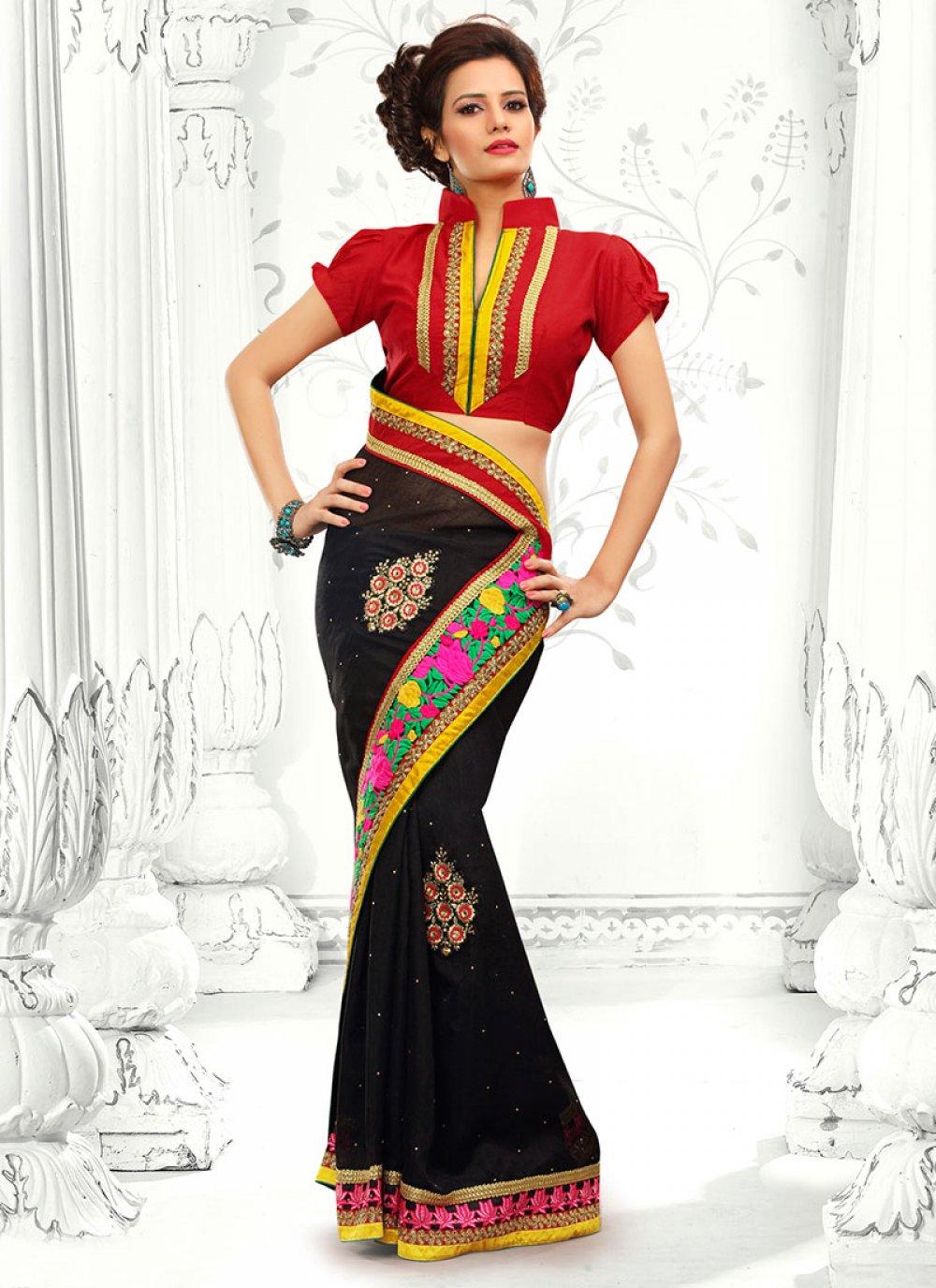 Black Cotton Designer Saree