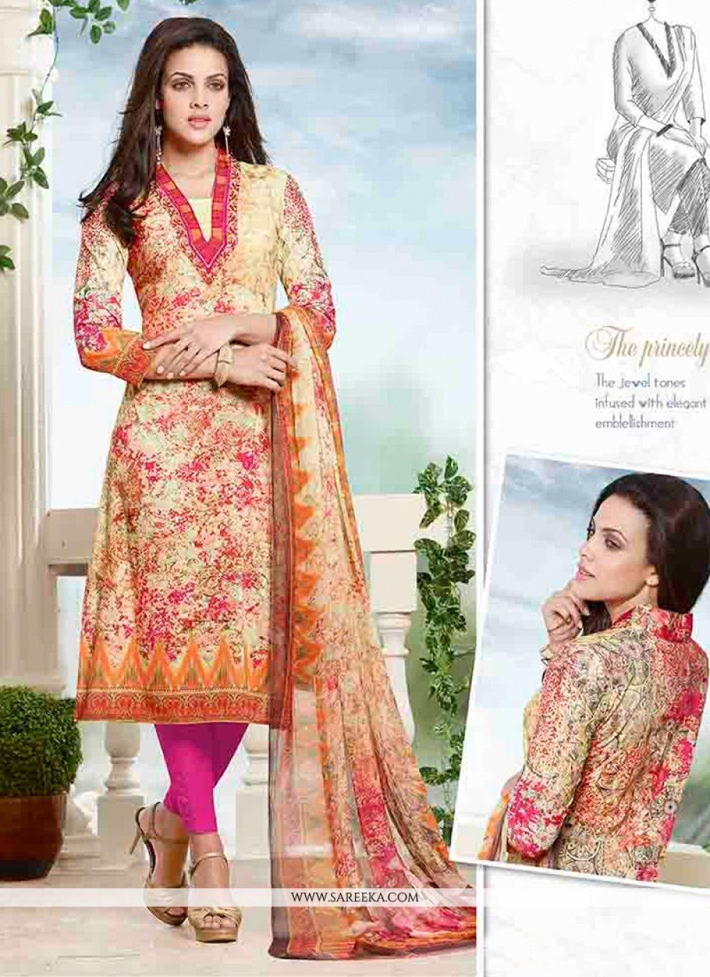 Cotton   Multi Colour Churidar Designer Suit