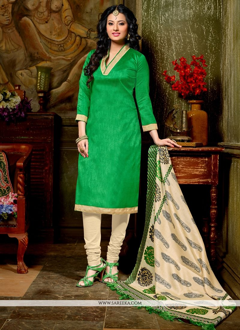 Green Lace Work Churidar Designer Suit