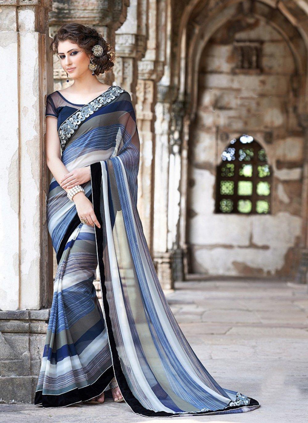Multicolor Printed Saree