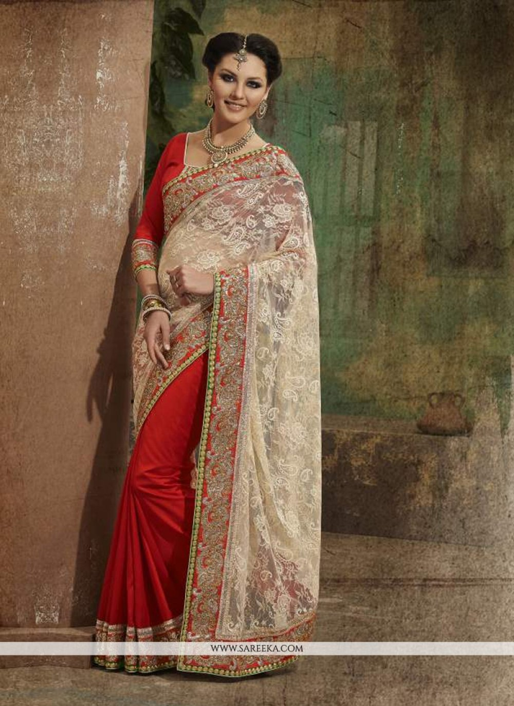 Red Faux Chiffon Designer Saree