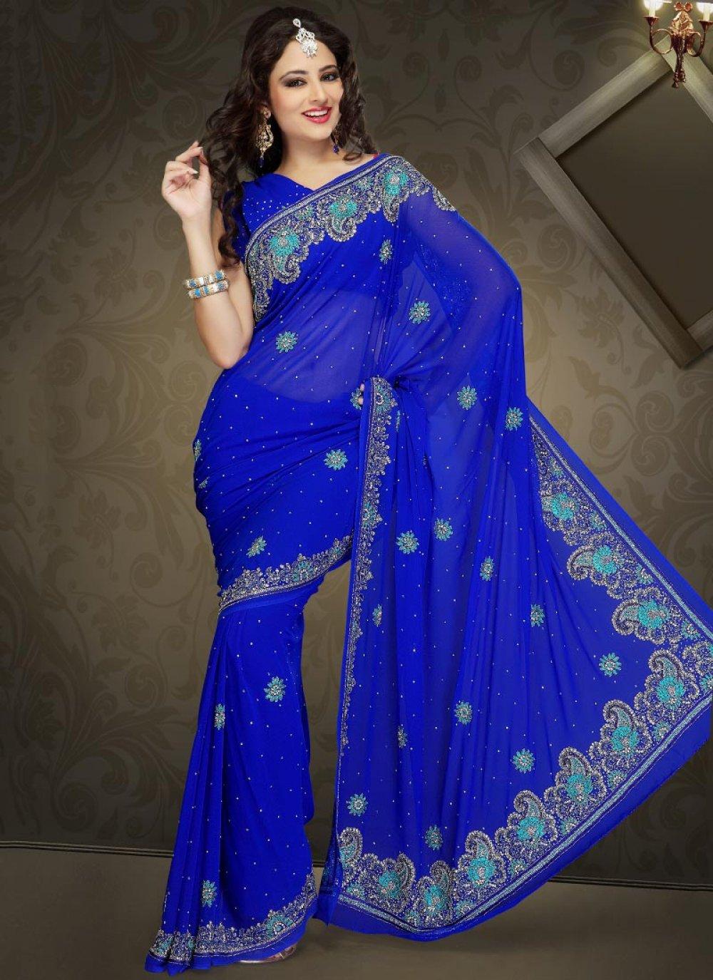 Glam Royal Blue Faux Georgette Saree