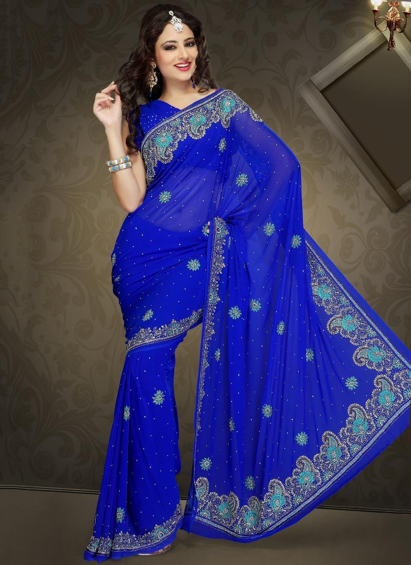 Glam Royal Blue Faux Georgette Saree
