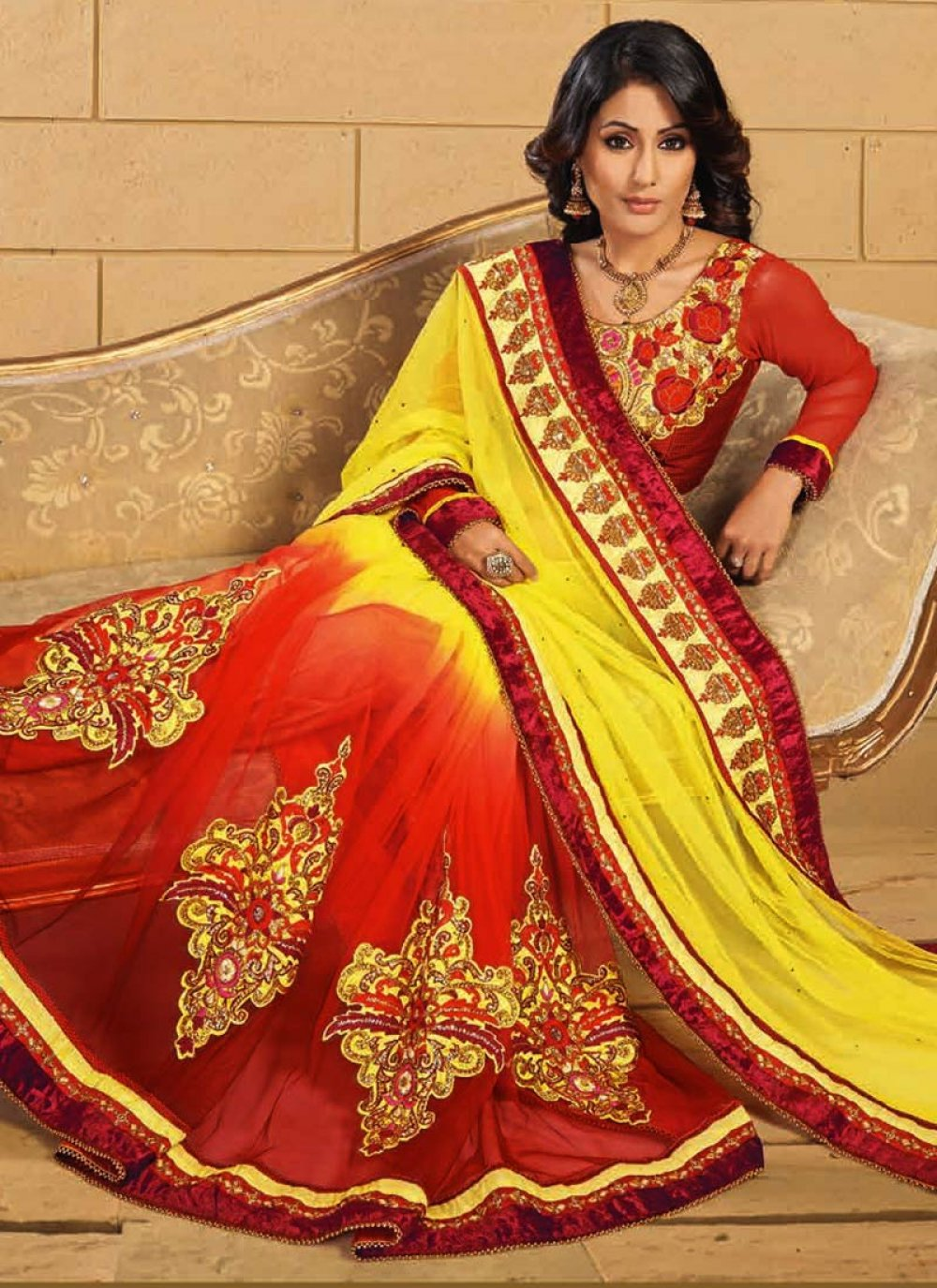 Akshara Yellow And Orange Net Saree