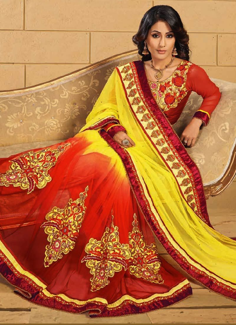 Akshara Yellow And Orange Net Saree