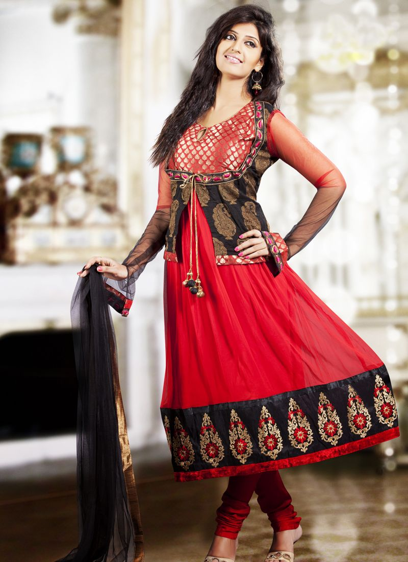 Black & Red Salwar Kameez