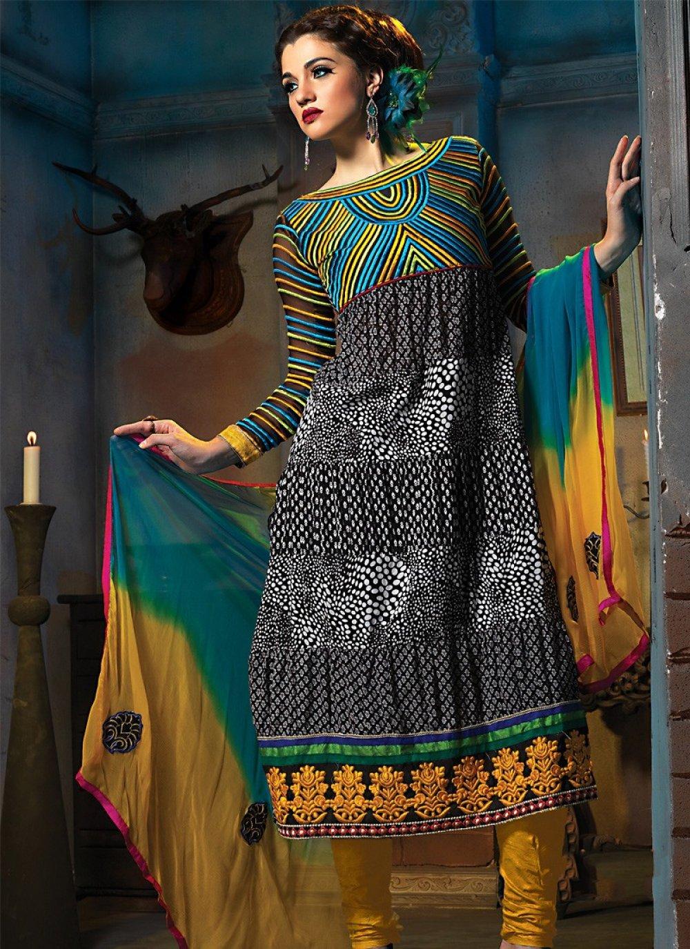 Black & Tale Blue Anarkali Suit