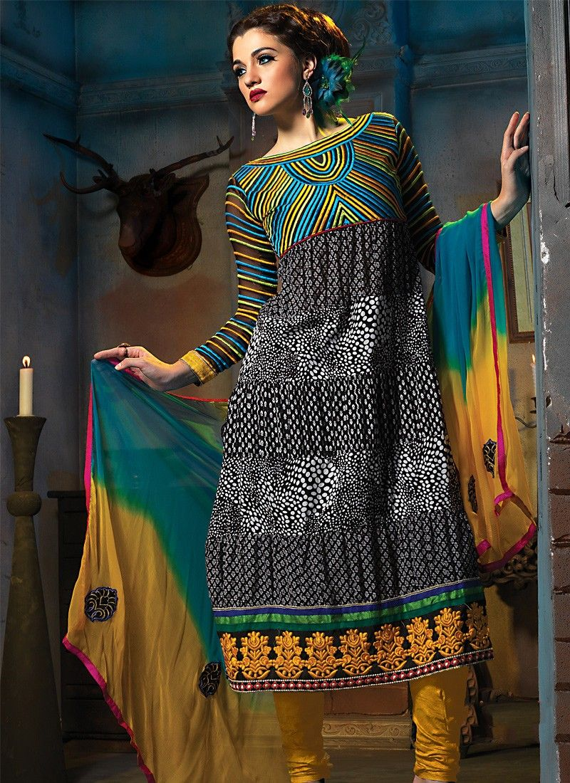 Black & Tale Blue Anarkali Suit