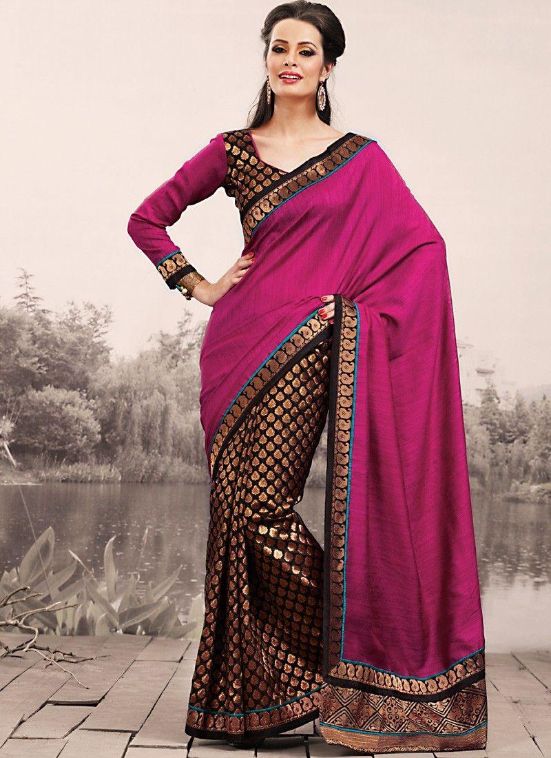Brown & Deep Pink Embroidered Saree