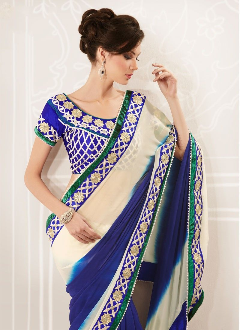 Cream And Blue Faux Georgette Saree