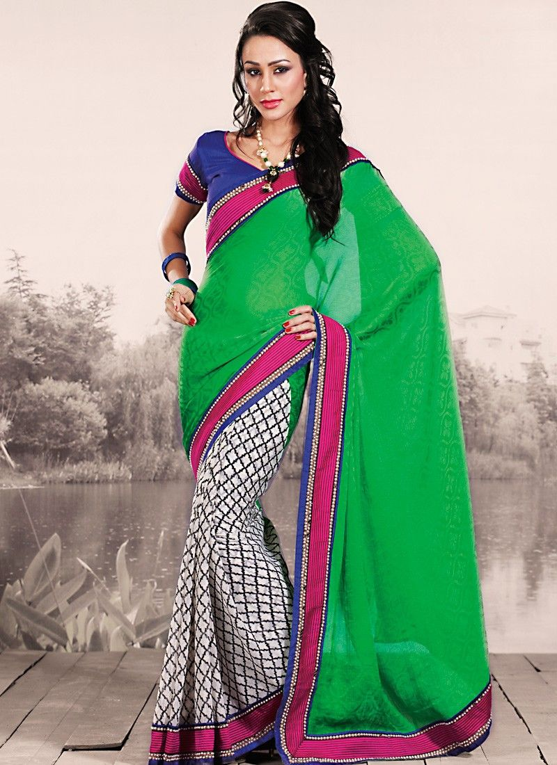 Emerald Green & White Embroidered Saree