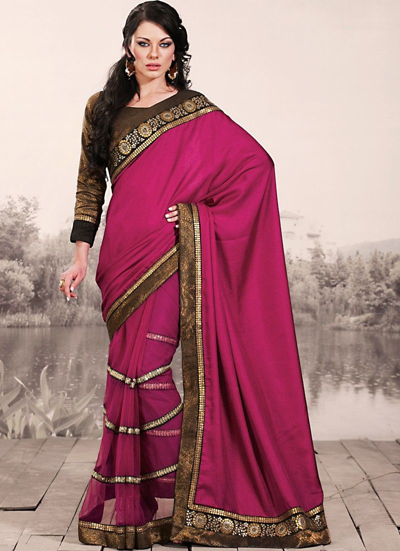 Fuchsia Embroidered Saree